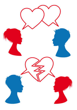 love and relationship, man and woman with heart shaped speech bubbles, vector illustration Vector