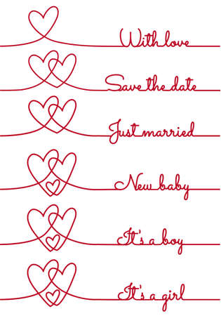 save the date: heart line drawing with text for cards, vector design elements Illustration