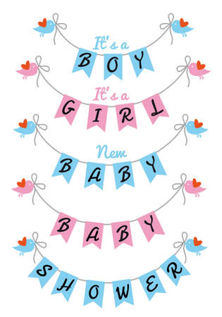 pennants: baby shower with bunting flags and birds, vector design elements