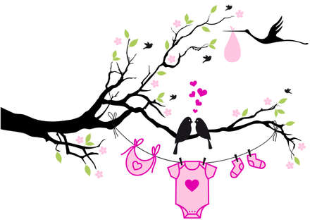 cute baby shower design with birds on tree, vector background Çizim