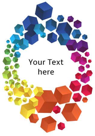 cubismo: marco con coloridos cubos 3D, fondo de vector