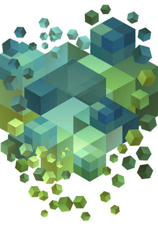 Abstract green and blue 3D cubes, vector background