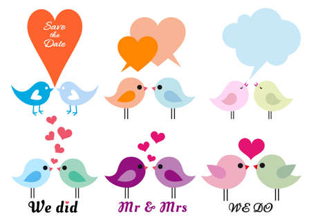 mrs: cute love birds with hearts, set of vector design elements