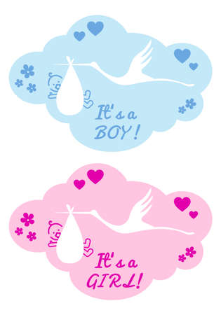 stork with new baby boy and girl, vector design elements Stock Vector - 21947265