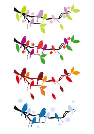 birds on tree branch in four seasons, vector design elements Vector