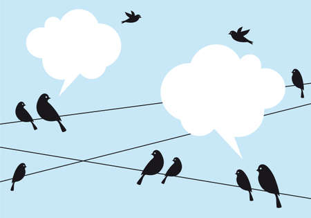 birds: birds on wire in blue sky with cloud speech bubbles, vector background