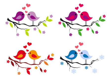 cute love birds with red hearts on tree branch, vector design elements