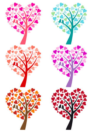 heart tree with cute bird for wedding invitation, vector set Vector
