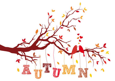 falling in love: birds on autumn tree branch with falling leaves, vector background illustration