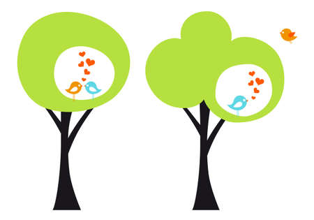 green tree with cute love birds, vector illustration Vector