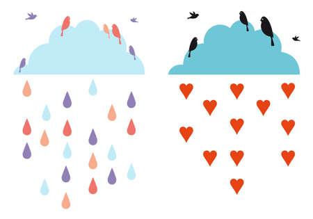 rainy sky: nubes de lluvia en el cielo con las aves, ilustraci�n vectorial