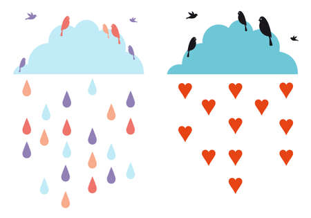 rainy sky: rainy clouds in the sky with birds, vector illustration Illustration