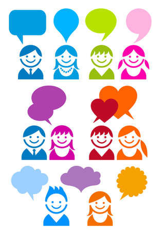 people icon set with speech bubbles