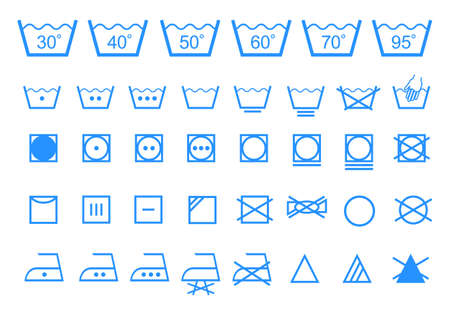 Cura i simboli di lavaggio lavanderia tessili Archivio Fotografico - 22129368
