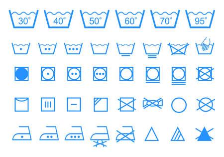 symbole chimique: symboles de lavage de blanchisserie de l'entretien des textiles Illustration