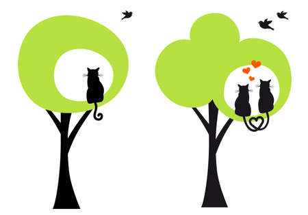 green trees with cats and birds Vector