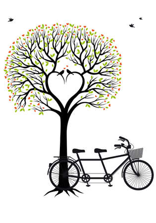 heart tree with birds and tandem bicycle