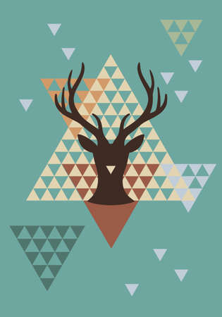 Christmas deer with abstract geometric pattern, vector background