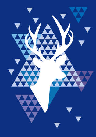 Christmas deer with abstract geometric pattern, vector Vector
