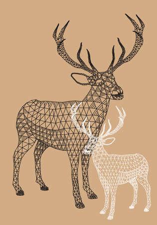 動物: 聖誕馴鹿與抽象的幾何圖案,矢量插圖