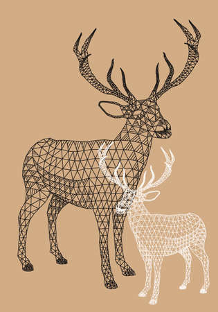 animais: Renas de Natal com teste padr Ilustração