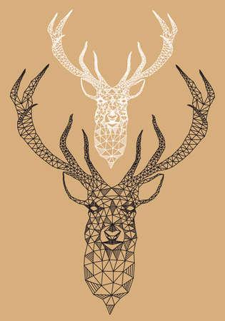 poligonos: Cabeza de ciervo de Navidad con el patr�n geom�trico abstracto, ilustraci�n vectorial