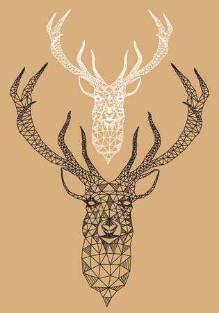 stag: Christmas deer head with abstract geometric pattern, vector illustration