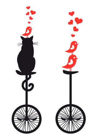 bicycle silhouette: cat and birds on vintage mono cycle, vector illustration