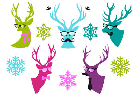 Christmas deer  heads with mustache and spectacles, set of vector design elements Illustration