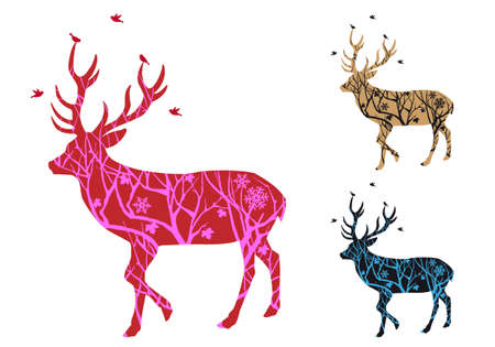 Christmas deer with winter tree pattern and birds, vector illustration Vector