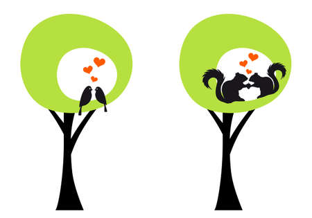 black squirrel: green trees with birds and squirrels, vector illustration
