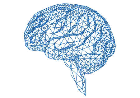 abstract blue human brain with geometric mesh pattern, vector illustration