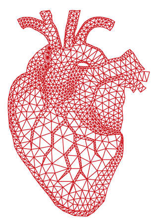 abstract red human heart with geometric mesh pattern, vector illustration Иллюстрация