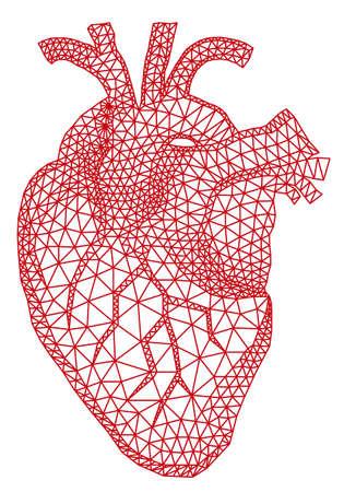 corazon: abstracto corazón humano rojo con patrón de malla geométrica, ilustración vectorial Vectores
