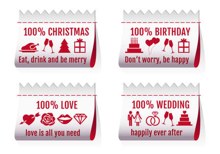 fabric tags for Christmas card, birthday, Valentines day, wedding invitation, set of vector design elements Vector