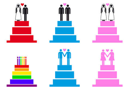 wedding cakes with couples, set of vector design elements Stock Vector - 24053671