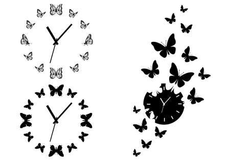 de tijd vliegt, vlinder klokken voor kunst aan de muur, set van vector design elementen Stock Illustratie