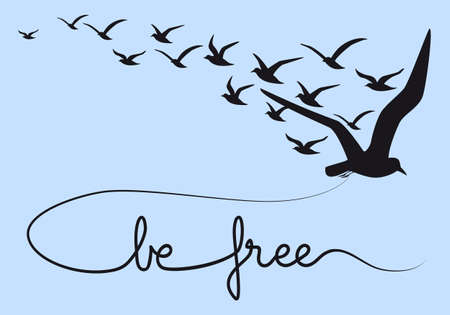 flock of birds: be free text with flying birds, vector illustration