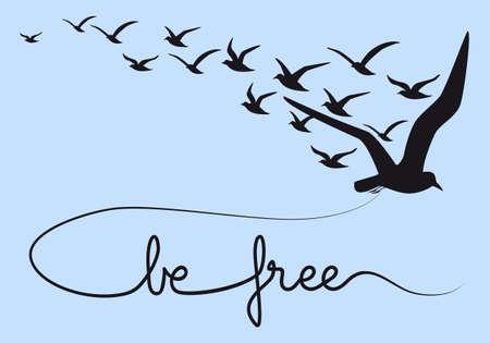 dieren: vrij zijn tekst met vliegende vogels, vector illustratie