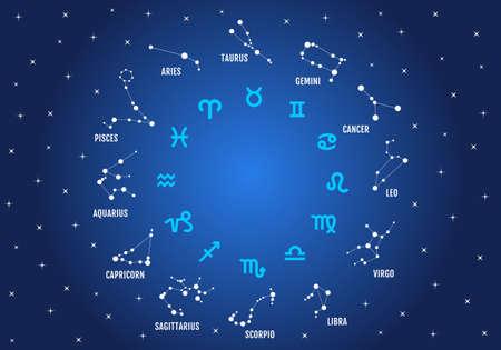 signos del zodiaco, símbolos del horóscopo, estrellas en el cielo azul, vector icon set