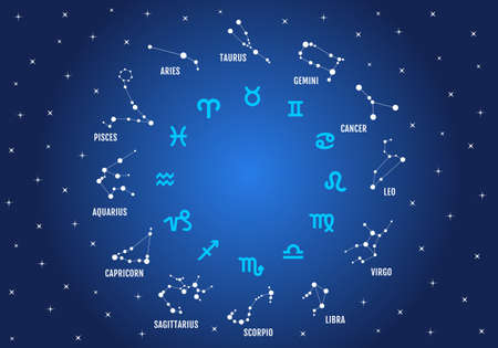 horoscope: zodiac signs, horoscope symbols, stars in blue sky, vector icon set