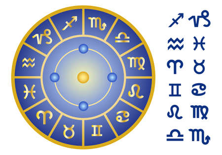 zodiac signs, horoscope symbols, vector icon set