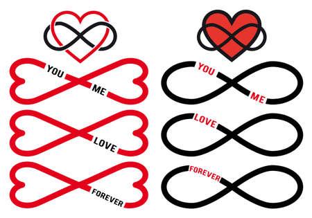 infinito simbolo: infinito amore, cuori rossi con l'infinito segno, impostare elementi di disegno vettoriale
