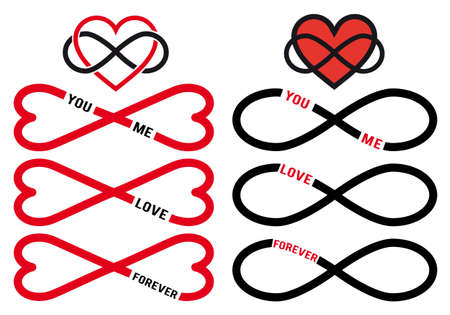infinite: never ending love, red hearts with infinity sign, vector design elements set Illustration