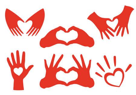 heart shaped hands set, vector design elements Illustration