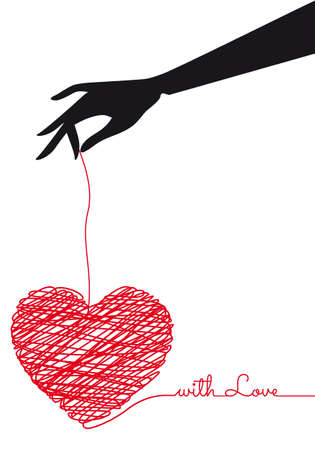female hand holding red hand-drawn scribble heart, vector drawing Illustration