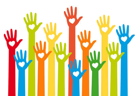 charity  symbol: teamwork concept, colorful hands with heart, vector illustration