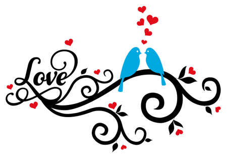 blue love birds on swirl with red hearts, vector illustration Vector