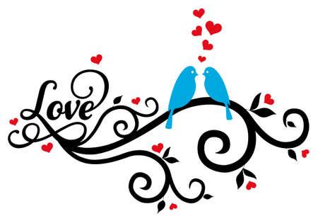 burmak: kırmızı kalpler, vektör çizim ile girdap mavi aşk kuşlar