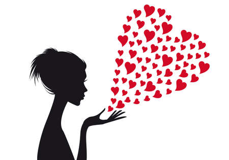Woman with red hearts, vector illustration